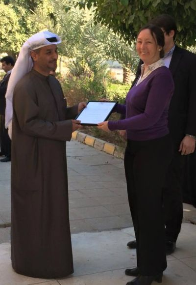 Diane Turner presents Director of Water Resources & Development Centre with Certificate of Appreciation